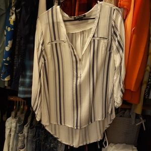 Zip Up Dress shirt white and navy stripes